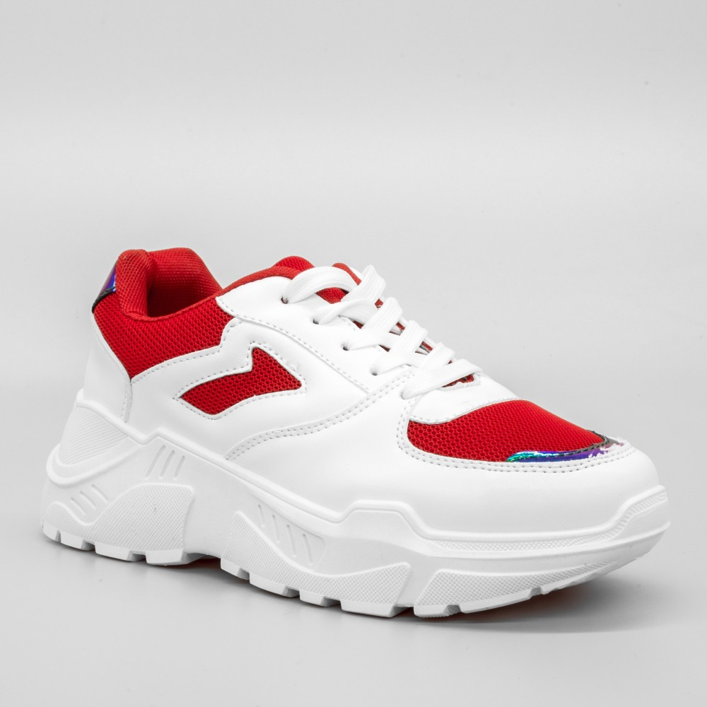 Pantofi Sport cu Platforma Dama GB36 White-Red (006) Mei