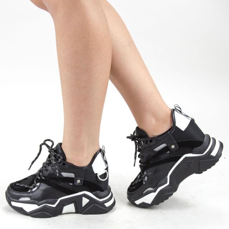 Pantofi Sport Dama cu Platforma SJN281 Black (040) Mei