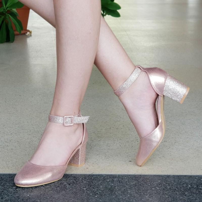 Pantofi cu Toc XD111A Champagne Mei