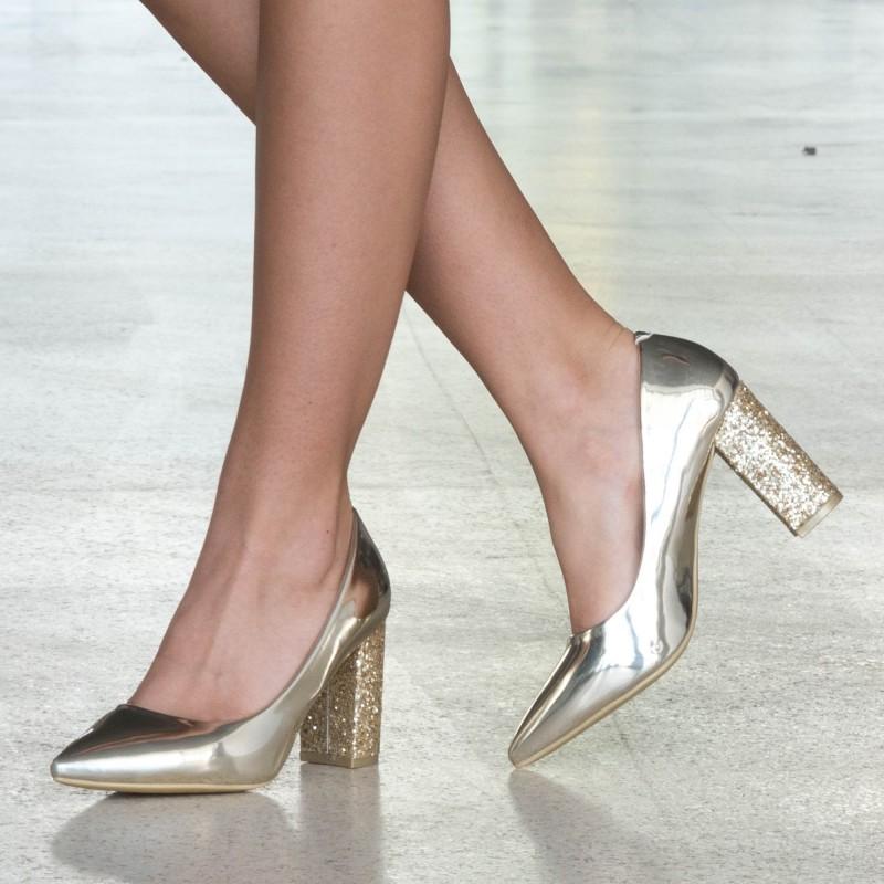 Pantofi cu Toc LLH19 Gold Mei