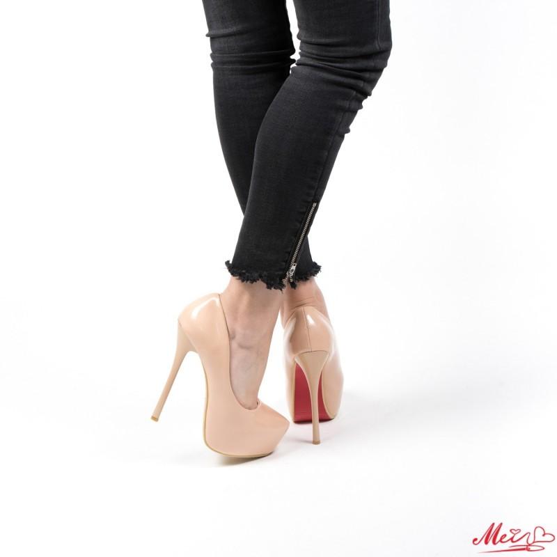 Pantofi cu Toc si Platforma OLG1 Nude Mei