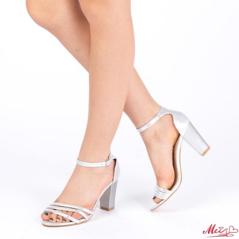 Sandale Dama cu Toc QZL139 Silver Mei