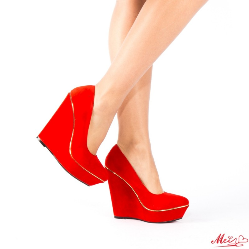 Pantofi cu Toc si Platforma RZ40 Red Mei