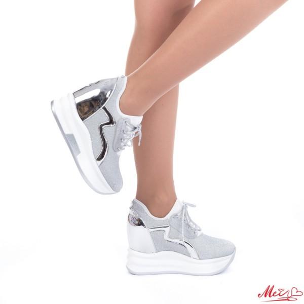 Pantofi Sport Dama cu Platforma SJN128 Silver Mei