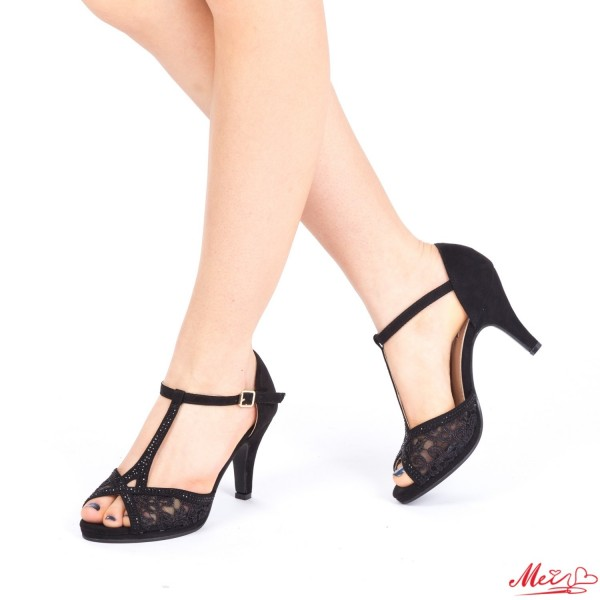 Sandale Dama cu Toc WT25 Black Mei