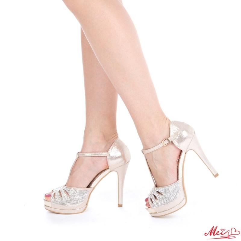 Sandale Dama cu Toc si Platforma WT64 Gold Mei