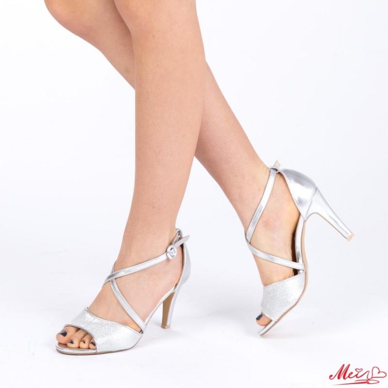 Sandale Dama cu Toc XD75 Silver Mei