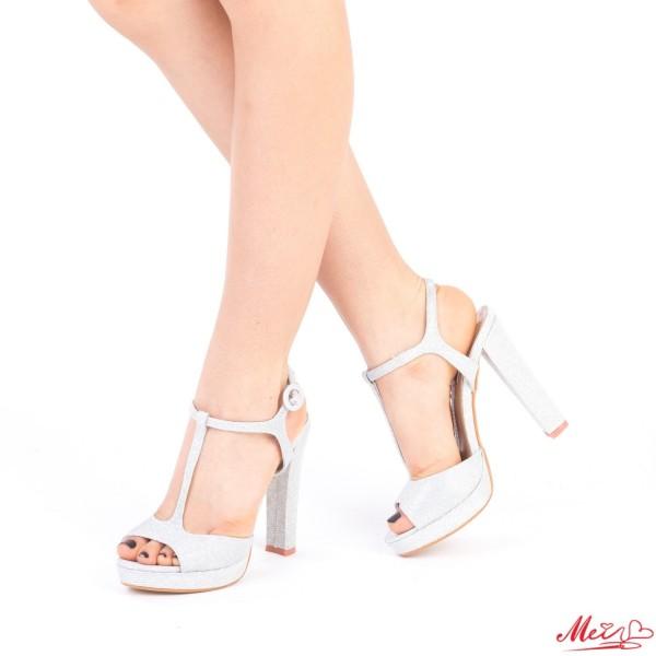 Sandale Dama cu Toc si Platforma XD80 Silver Mei