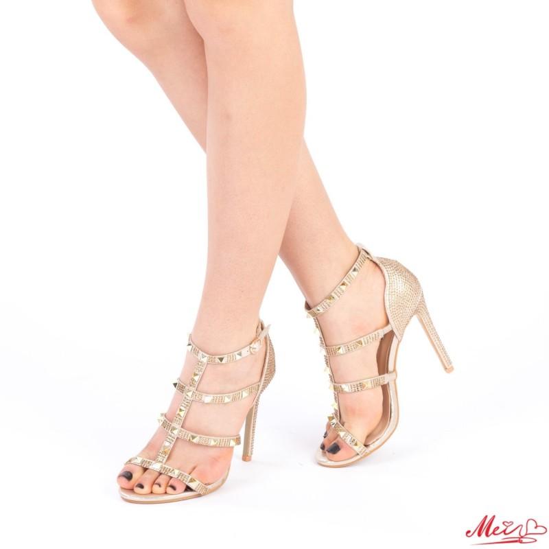 Sandale Dama cu Toc XKK103 Gold Mei