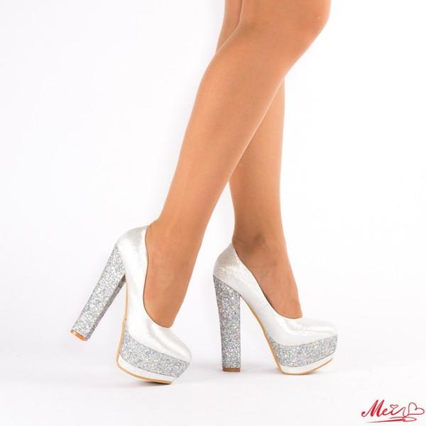Pantofi cu Toc si Platforma XKK65 Silver Mei