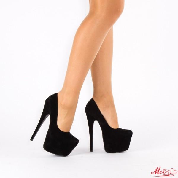 Pantofi cu Toc si Platforma XKK75 Black Mei