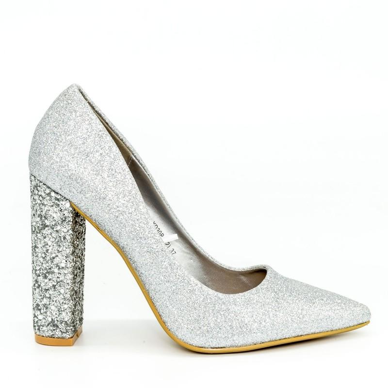 Pantofi cu Toc XD30B Silver Mei