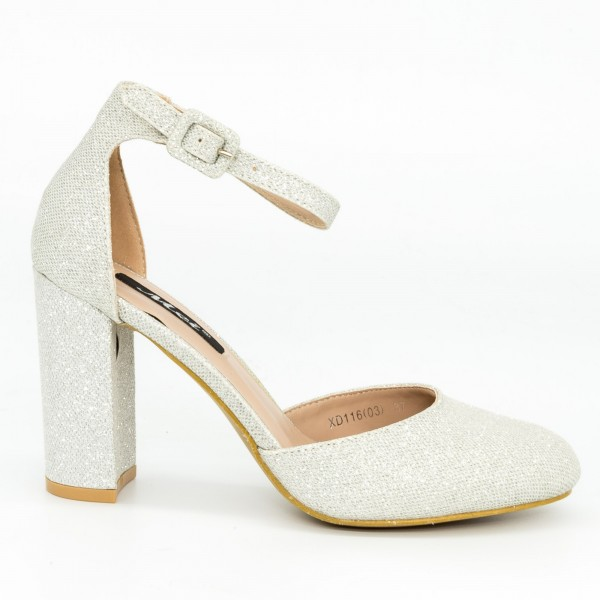 Pantofi cu Toc XD116 Silver Mei