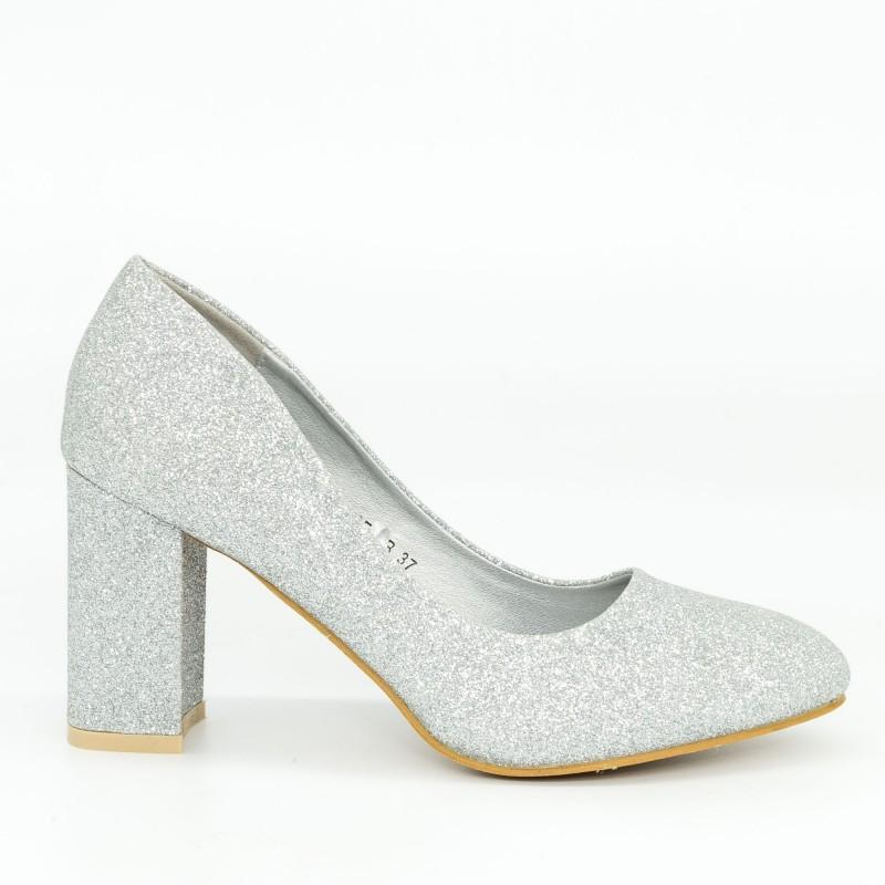 Pantofi cu Toc GE27B Silver Mei