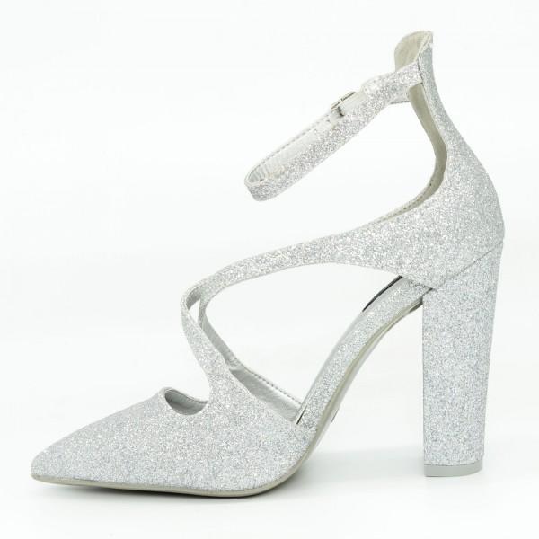Pantofi cu Toc GE18A Silver Mei