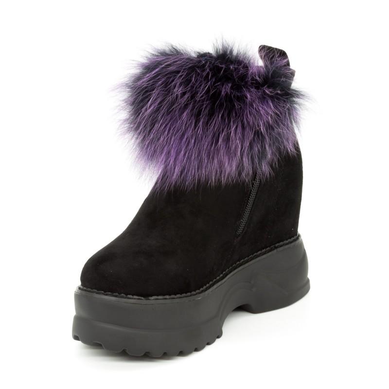 Ghete cu Platforma Dama SJN225 Black-Purple Mei