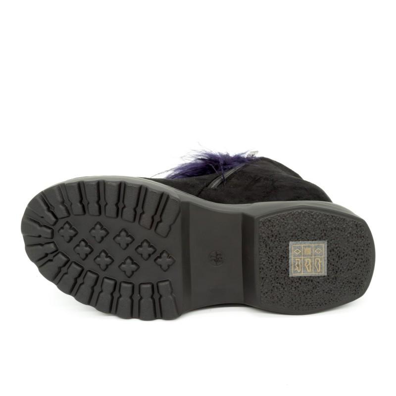Ghete cu Platforma Dama SJN226 Black-Purple Mei