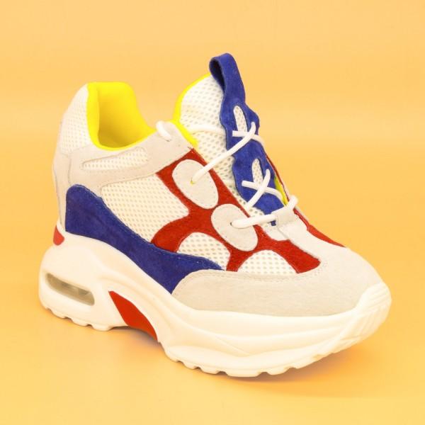 Pantofi Sport cu Platforma Dama QQ8 White-Red Mei