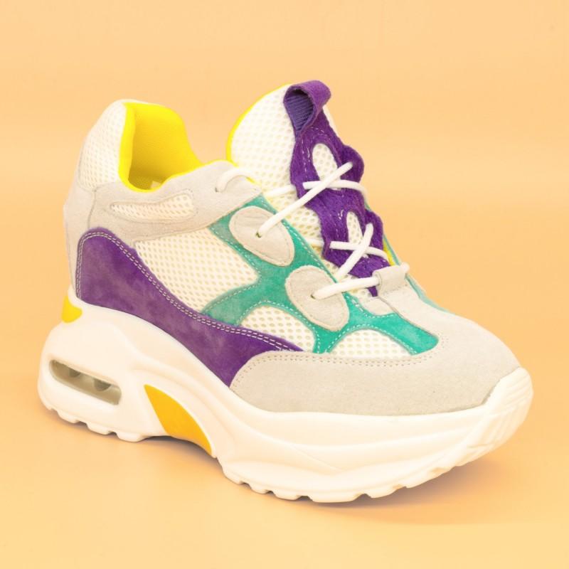 Pantofi Sport cu Platforma Dama QQ8 White-Purple Mei