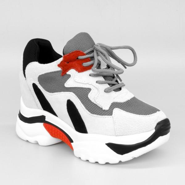 Pantofi Sport cu Platforma Dama QQ6 White-Grey Mei
