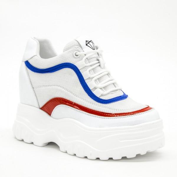 Pantofi Sport cu Platforma Dama SJN259 White-Blue Mei