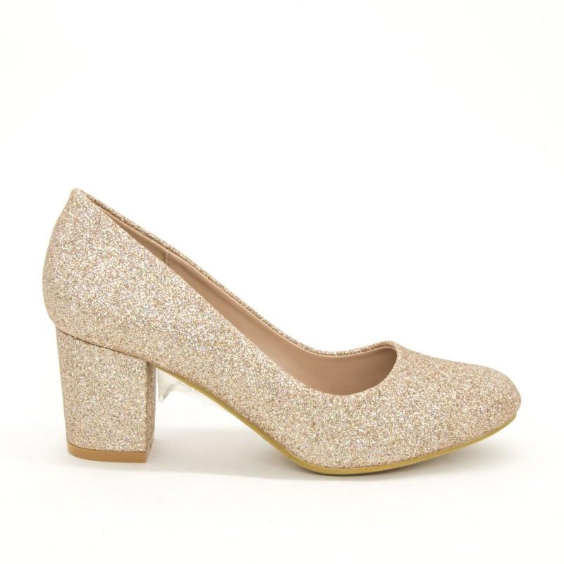 Pantofi cu Toc XD127B Champagne Mei