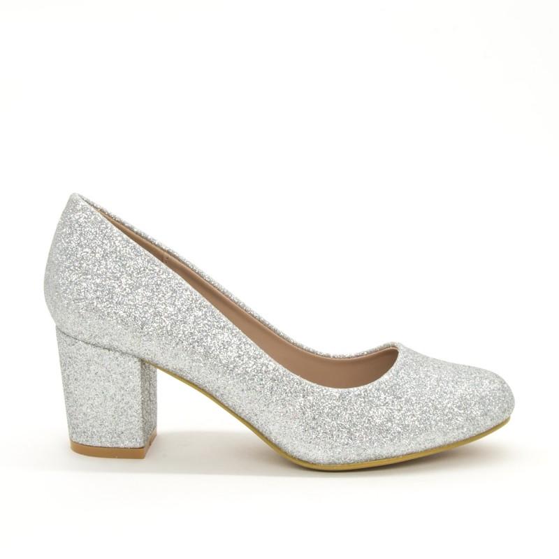 Pantofi cu Toc XD127B Silver Mei