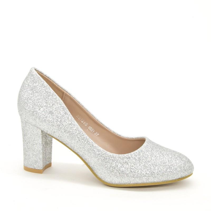 Pantofi cu Toc XD126B Silver Mei
