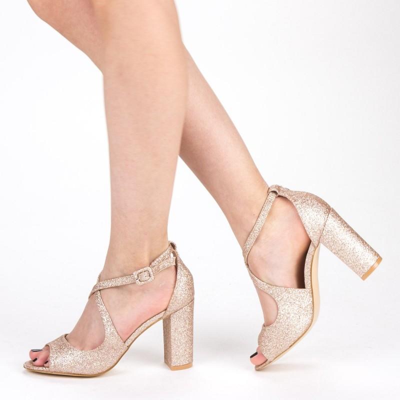 Sandale Dama cu Toc XD83C Champagne Mei