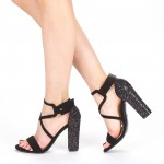 Sandale Dama cu Toc XKK160 Black Mei