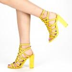 Sandale Dama cu Toc XKK157 Yellow Mei