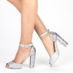 Sandale Dama cu Toc XKK110B Silver Mei