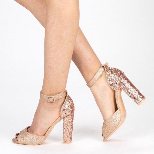Sandale Dama cu Toc XKK110B Champagne Mei