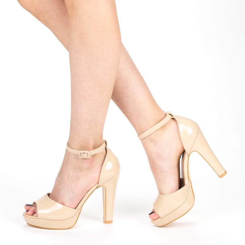 Sandale Dama cu Toc si Platforma XD130 Nude Mei
