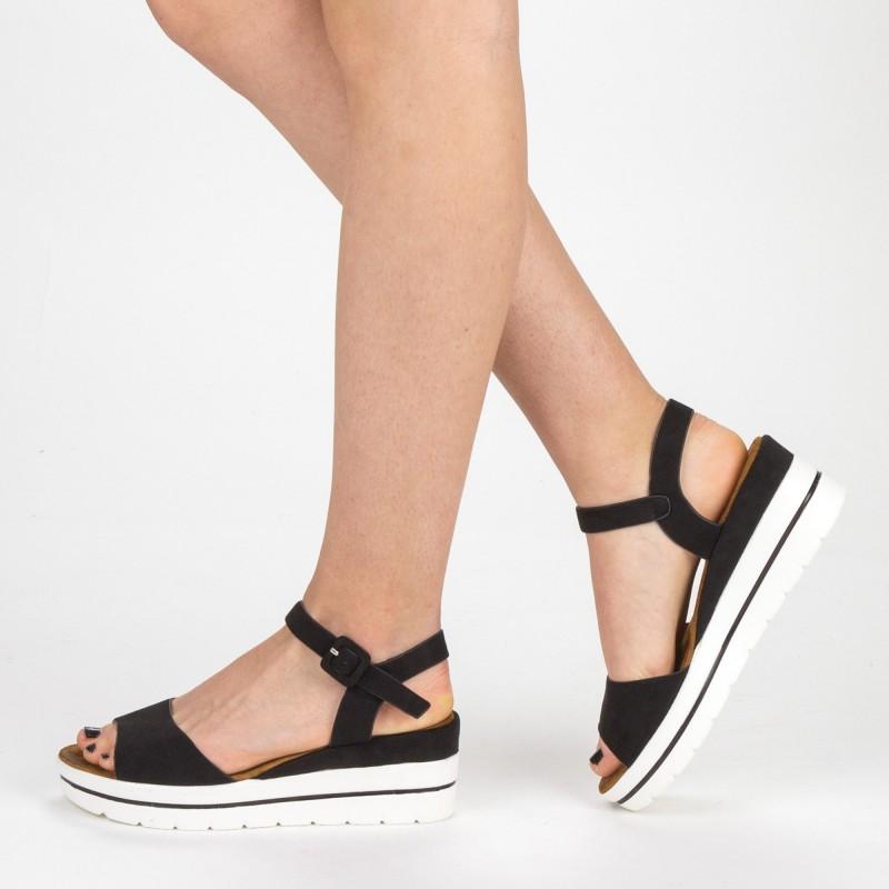 Sandale Dama cu Platforma WT58 Black Mei