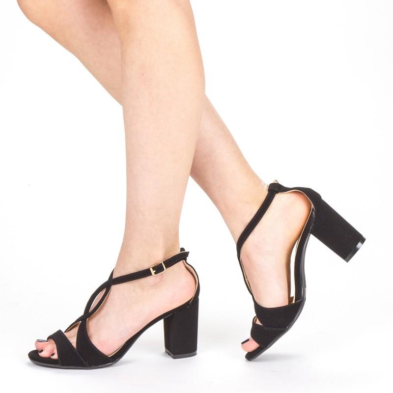 Sandale Dama cu Toc QZL216 Black Mei