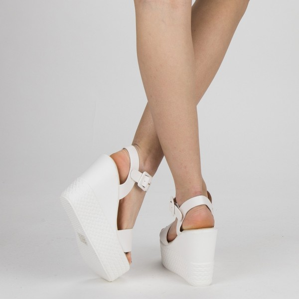 Sandale Dama cu Toc si Platforma LM253 White Mei