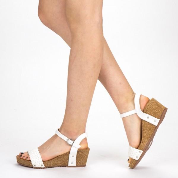 Sandale Dama cu Platforma FD50 White Mei