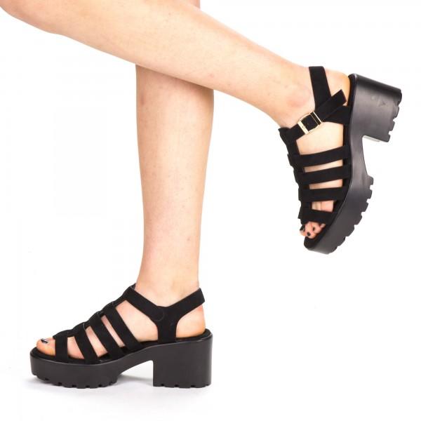 Sandale Dama cu Toc si Platforma WH16 Black Mei