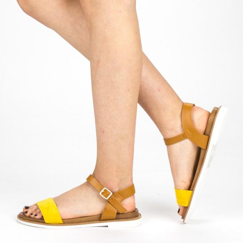 Sandale Dama cu Toc FD51 Yellow Mei