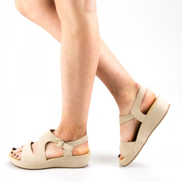 Sandale Dama cu Platforma GH115 Beige Mei
