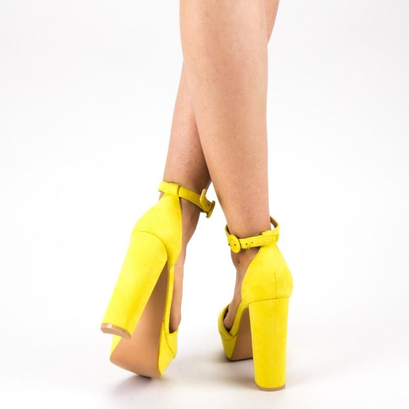Sandale Dama cu Toc si Platforma XD205 Yellow Mei