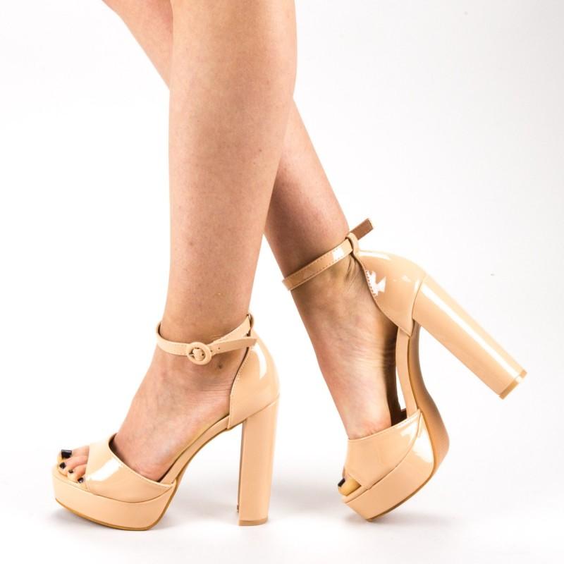 Sandale Dama cu Toc si Platforma XD205 White Mei