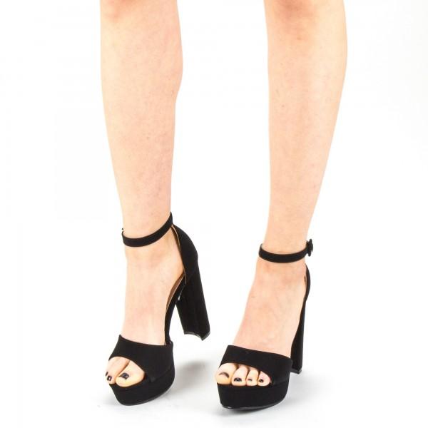 Sandale Dama cu Toc si Platforma XD205 Black Mei