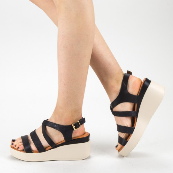 Sandale Dama cu Toc si Platforma QZL227 Black Mei
