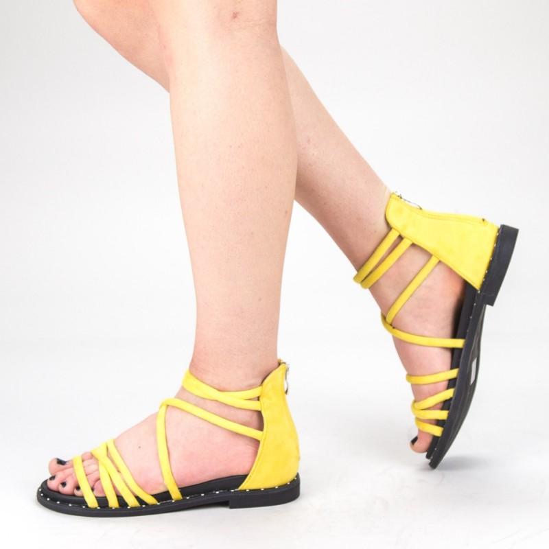Sandale Dama cu Toc QZL231 Yellow Mei