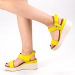 Sandale Dama cu Toc si Platforma QZL226 Yellow Mei