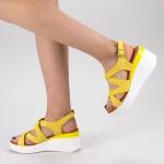 Sandale Dama cu Toc si Platforma QZL225 Yellow Mei