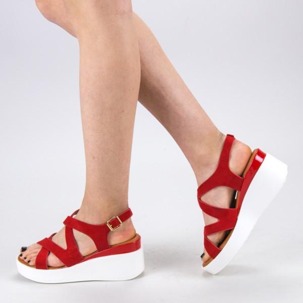 Sandale Dama cu Toc si Platforma QZL225 Red Mei