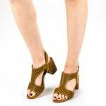 Sandale Dama cu Toc CS61 Camel Mei